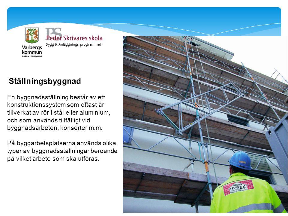 Bygg & Anläggnings programmet Ställningsbyggnad En byggnadsställning består av ett konstruktionssystem som oftast är tillverkat av rör i stål eller al