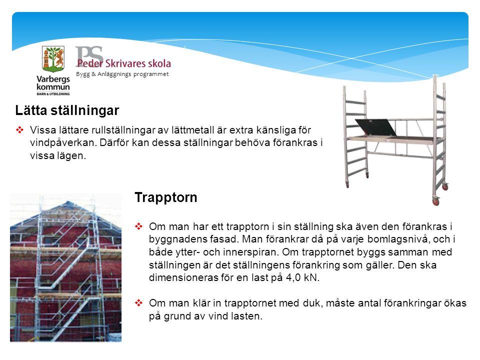 Bygg & Anläggnings programmet Lätta ställningar  Vissa lättare rullställningar av lättmetall är extra känsliga för vindpåverkan. Därför kan dessa stä