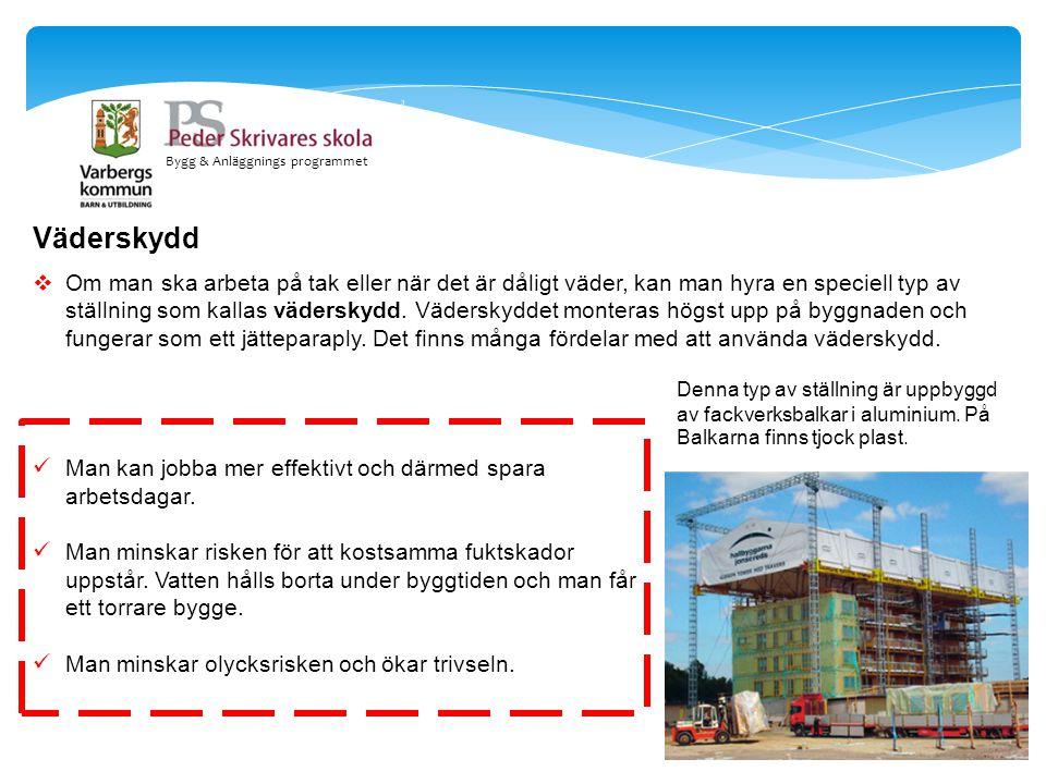Bygg & Anläggnings programmet Väderskydd  Om man ska arbeta på tak eller när det är dåligt väder, kan man hyra en speciell typ av ställning som kalla