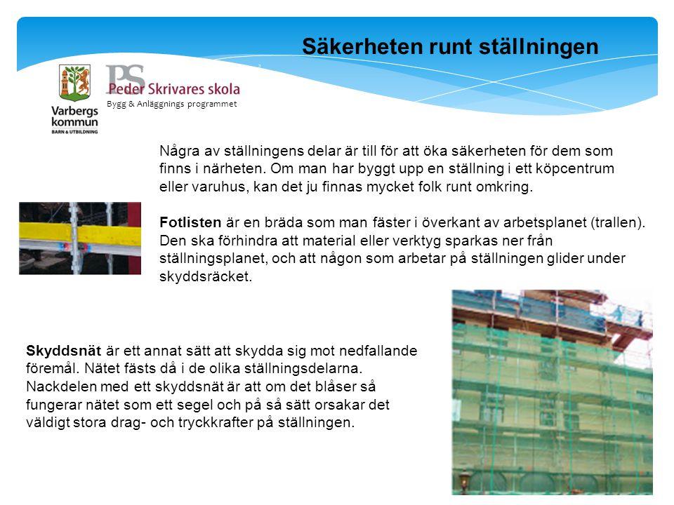Bygg & Anläggnings programmet Säkerheten runt ställningen Några av ställningens delar är till för att öka säkerheten för dem som finns i närheten. Om