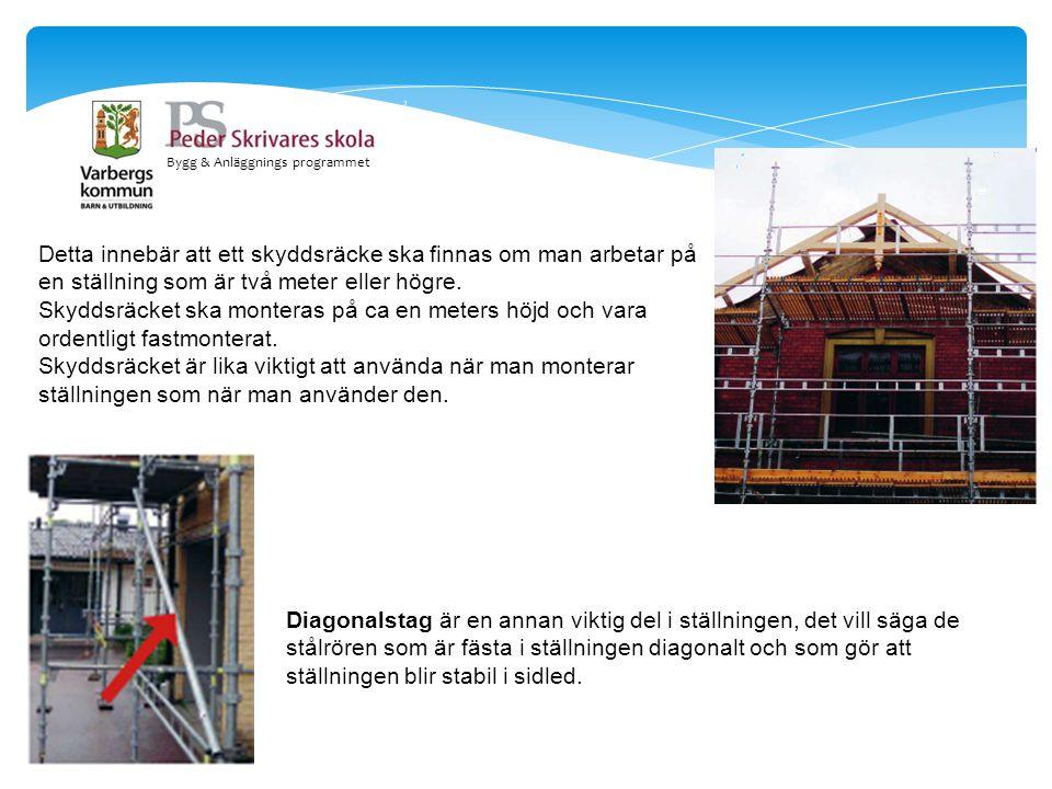 Bygg & Anläggnings programmet Detta innebär att ett skyddsräcke ska finnas om man arbetar på en ställning som är två meter eller högre. Skyddsräcket s
