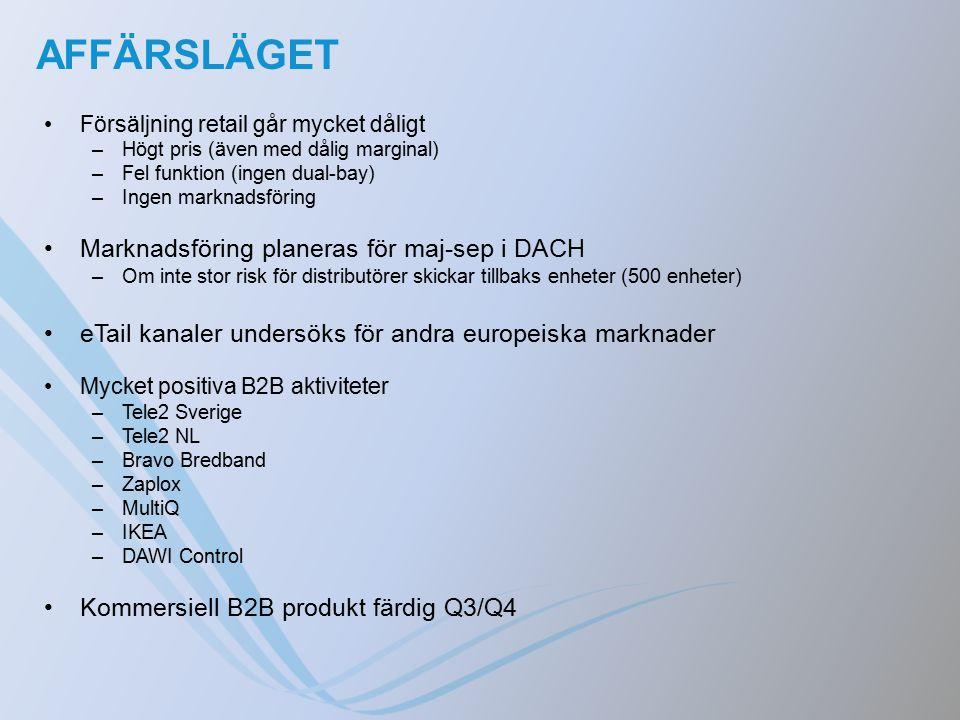 AFFÄRSLÄGET Försäljning retail går mycket dåligt –Högt pris (även med dålig marginal) –Fel funktion (ingen dual-bay) –Ingen marknadsföring Marknadsföring planeras för maj-sep i DACH –Om inte stor risk för distributörer skickar tillbaks enheter (500 enheter) eTail kanaler undersöks för andra europeiska marknader Mycket positiva B2B aktiviteter –Tele2 Sverige –Tele2 NL –Bravo Bredband –Zaplox –MultiQ –IKEA –DAWI Control Kommersiell B2B produkt färdig Q3/Q4