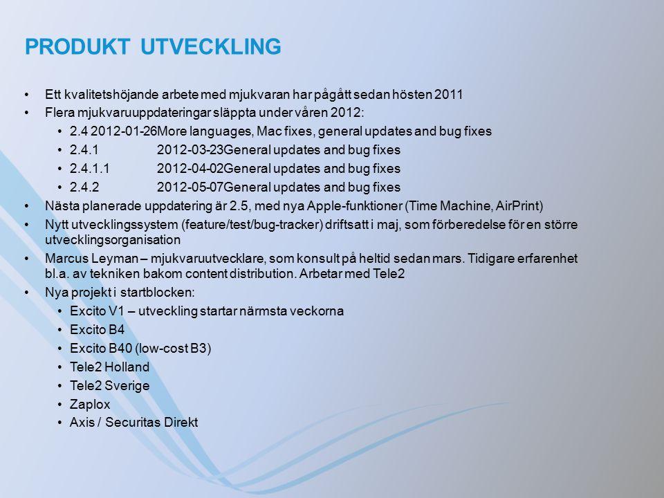 PRODUKT UTVECKLING Ett kvalitetshöjande arbete med mjukvaran har pågått sedan hösten 2011 Flera mjukvaruuppdateringar släppta under våren 2012: 2.42012-01-26More languages, Mac fixes, general updates and bug fixes 2.4.12012-03-23General updates and bug fixes 2.4.1.12012-04-02General updates and bug fixes 2.4.22012-05-07General updates and bug fixes Nästa planerade uppdatering är 2.5, med nya Apple-funktioner (Time Machine, AirPrint) Nytt utvecklingssystem (feature/test/bug-tracker) driftsatt i maj, som förberedelse för en större utvecklingsorganisation Marcus Leyman – mjukvaruutvecklare, som konsult på heltid sedan mars.