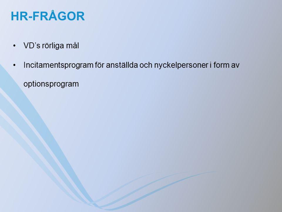 HR-FRÅGOR VD's rörliga mål Incitamentsprogram för anställda och nyckelpersoner i form av optionsprogram
