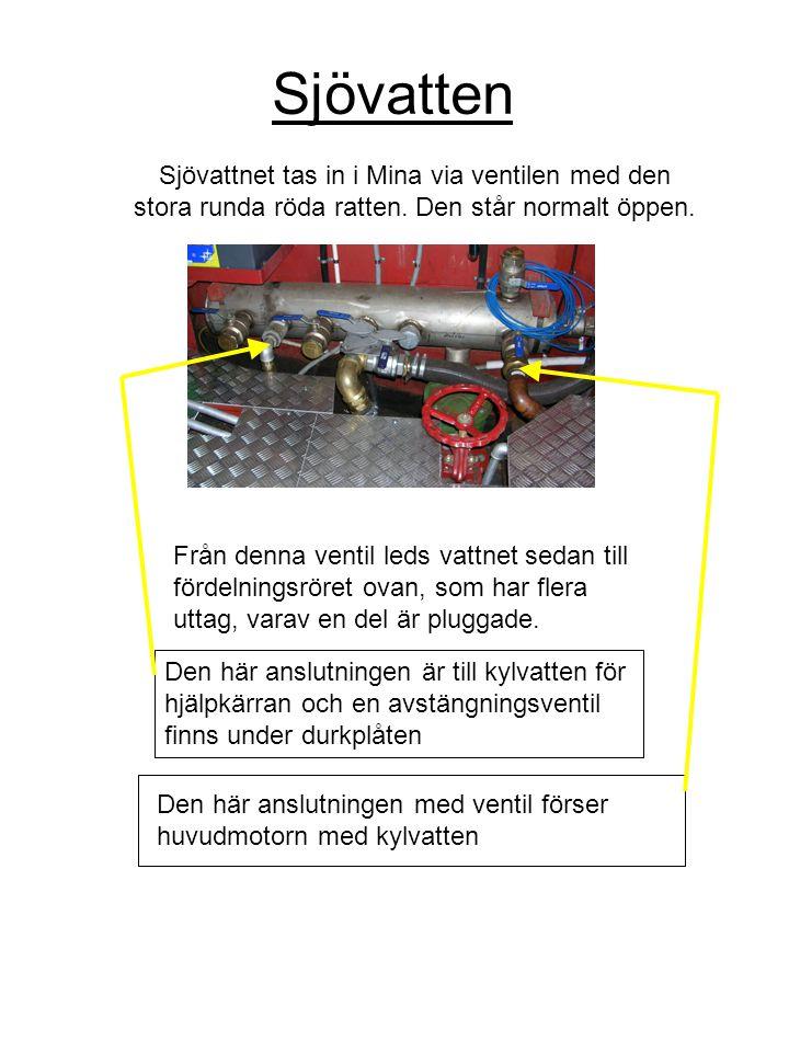 Sjövatten Sjövattnet tas in i Mina via ventilen med den stora runda röda ratten. Den står normalt öppen. Från denna ventil leds vattnet sedan till för