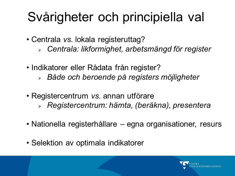 Centrala vs. lokala registeruttag?  Centrala: likformighet, arbetsmängd för register Indikatorer eller Rådata från register?  Både och beroende på r