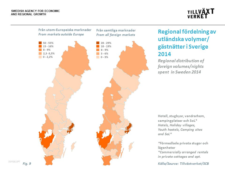 SWEDISH AGENCY FOR ECONOMIC AND REGIONAL GROWTH 06FEB15PT Regional fördelning av utländska volymer/ gästnätter i Sverige 2014 Regional distribution of foreign volumes/nights spent in Sweden 2014 Hotell, stugbyar, vandrarhem, campingplatser och SoL* Hotels, Holiday villages, Youth hostels, Camping sites and SoL* *Förmedlade privata stugor och lägenheter *Commercially arranged rentals in private cottages and apt.