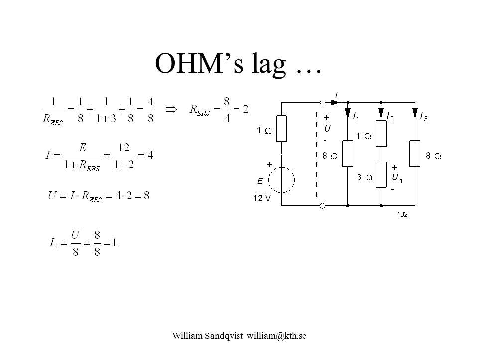 William Sandqvist william@kth.se OHM's lag …