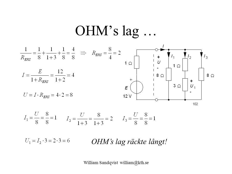 William Sandqvist william@kth.se OHM's lag … OHM's lag räckte långt!