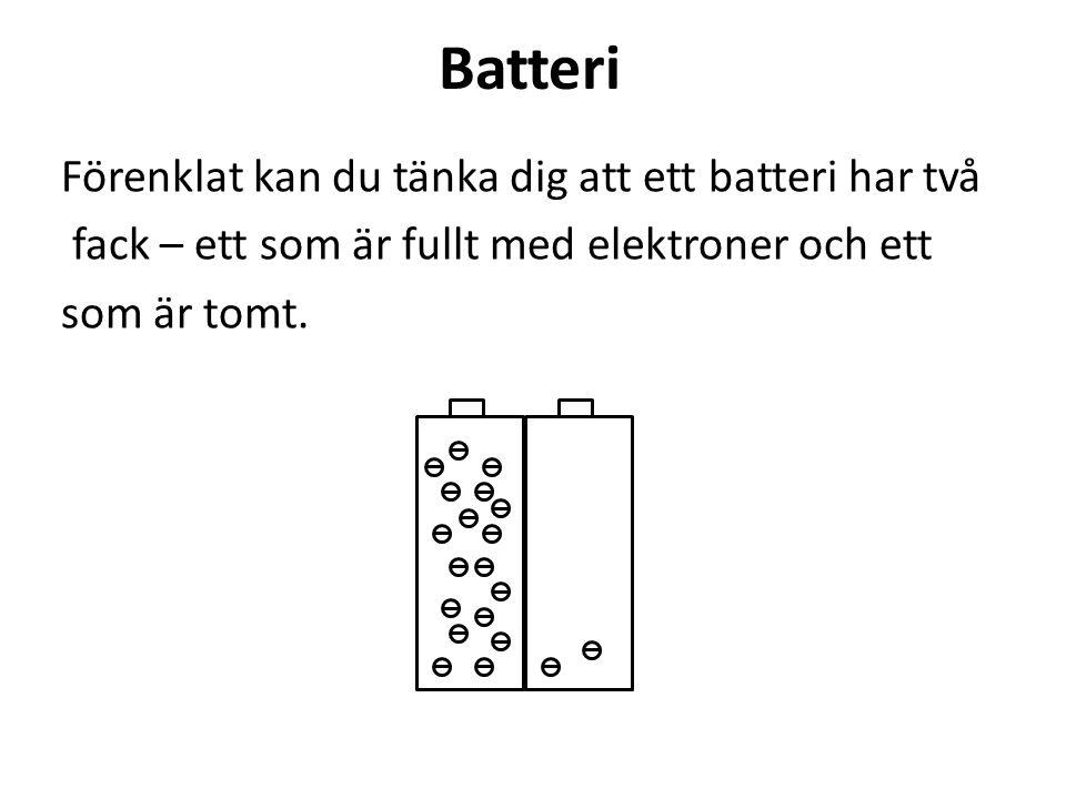 Batteri Förenklat kan du tänka dig att ett batteri har två fack – ett som är fullt med elektroner och ett som är tomt.