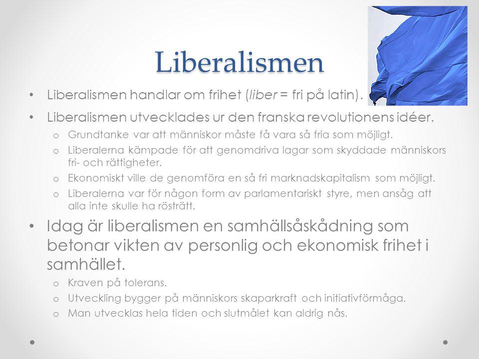 Liberalismen Liberalismen handlar om frihet (liber = fri på latin).