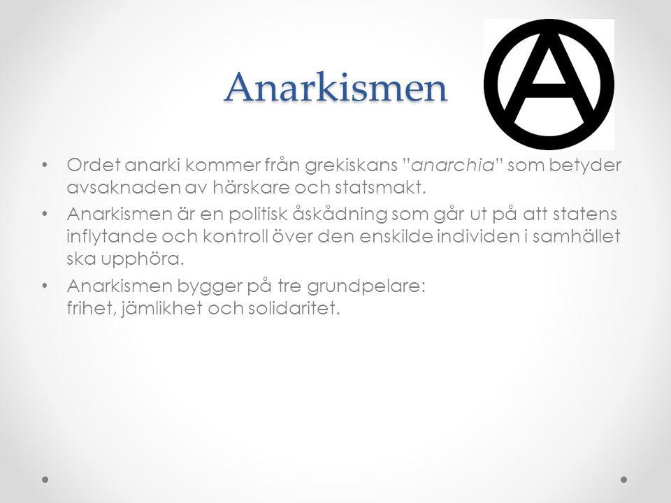 Anarkismen Ordet anarki kommer från grekiskans anarchia som betyder avsaknaden av härskare och statsmakt.