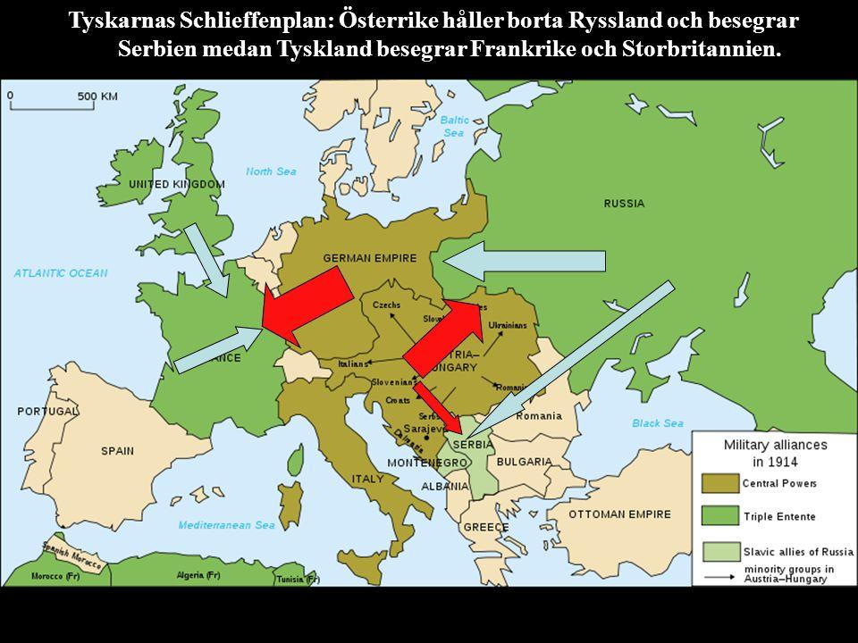 Tyskarnas Schlieffenplan: Österrike håller borta Ryssland och besegrar Serbien medan Tyskland besegrar Frankrike och Storbritannien.