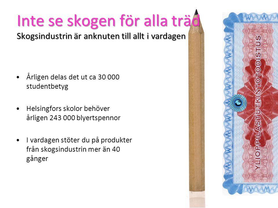 Inte se skogen för alla träd Skogsindustrin är anknuten till allt i vardagen Årligen delas det ut ca 30 000 studentbetyg Helsingfors skolor behöver årligen 243 000 blyertspennor I vardagen stöter du på produkter från skogsindustrin mer än 40 gånger