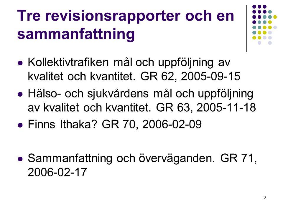 2 Tre revisionsrapporter och en sammanfattning Kollektivtrafiken mål och uppföljning av kvalitet och kvantitet.
