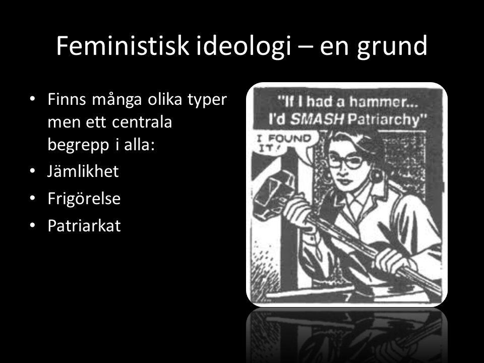 Feministisk ideologi – en grund Finns många olika typer men ett centrala begrepp i alla: Jämlikhet Frigörelse Patriarkat