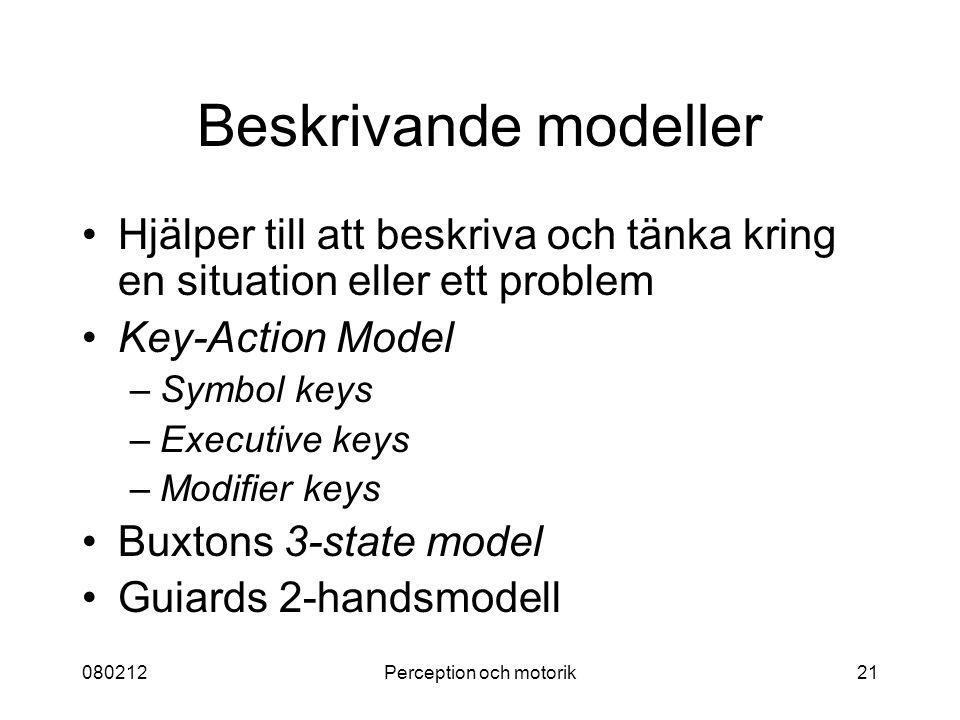 080212Perception och motorik21 Beskrivande modeller Hjälper till att beskriva och tänka kring en situation eller ett problem Key-Action Model –Symbol