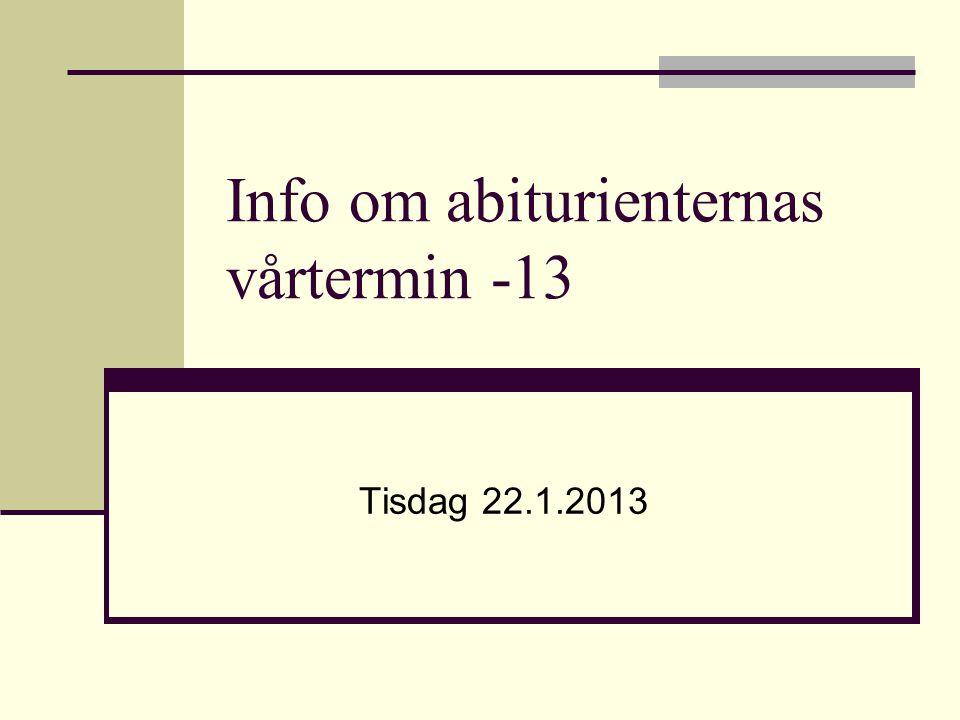 Info om abiturienternas vårtermin -13 Tisdag 22.1.2013