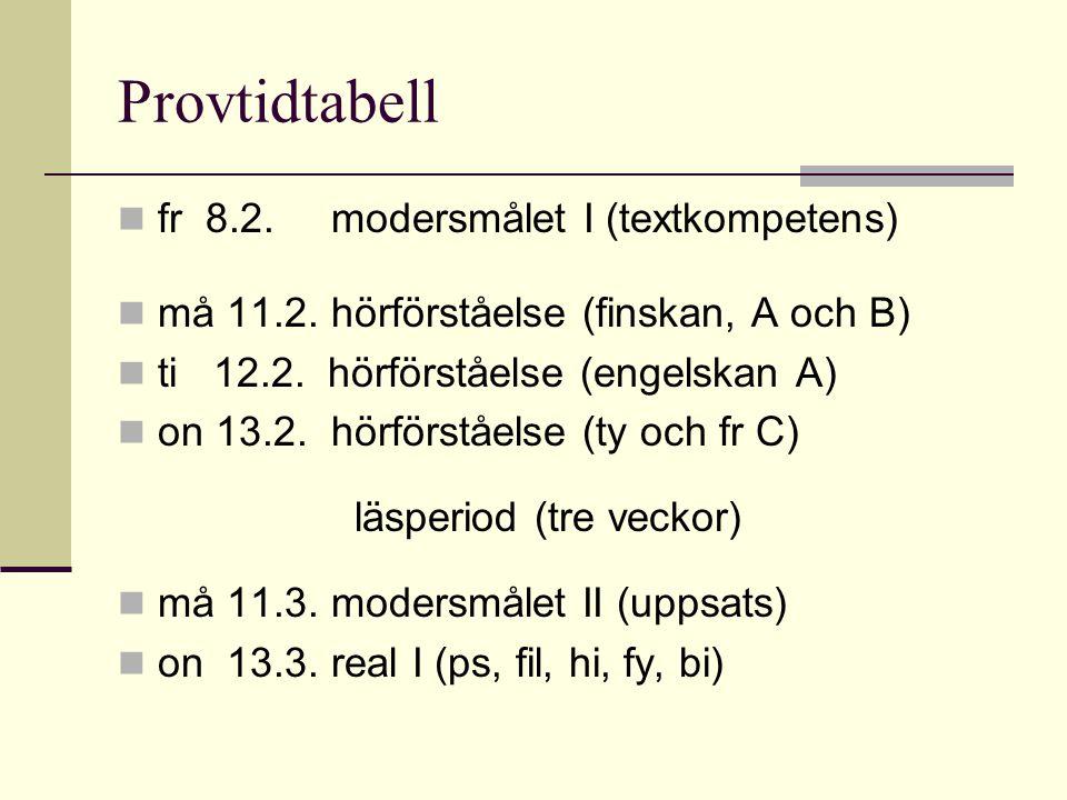 Provtidtabell fr 8.2.modersmålet I (textkompetens) må 11.2. hörförståelse (finskan, A och B) ti 12.2. hörförståelse (engelskan A) on 13.2. hörförståel
