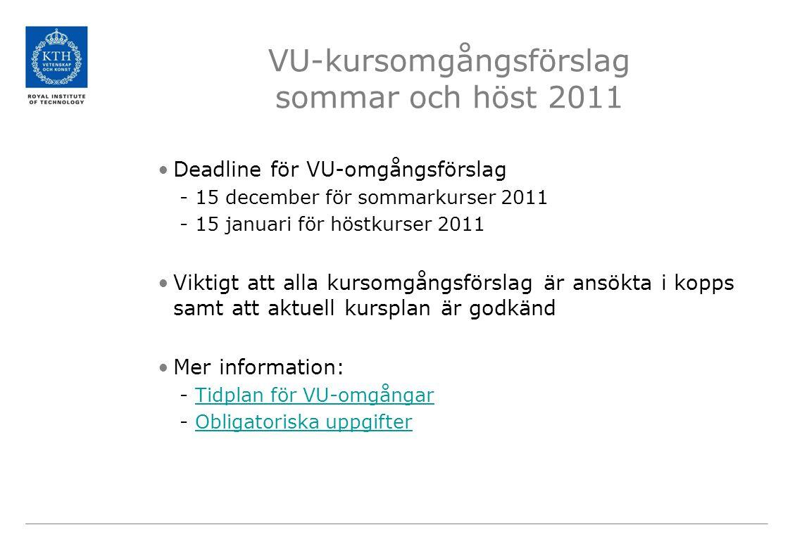 VU-kursomgångsförslag sommar och höst 2011 Deadline för VU-omgångsförslag -15 december för sommarkurser 2011 -15 januari för höstkurser 2011 Viktigt att alla kursomgångsförslag är ansökta i kopps samt att aktuell kursplan är godkänd Mer information: -Tidplan för VU-omgångarTidplan för VU-omgångar -Obligatoriska uppgifterObligatoriska uppgifter
