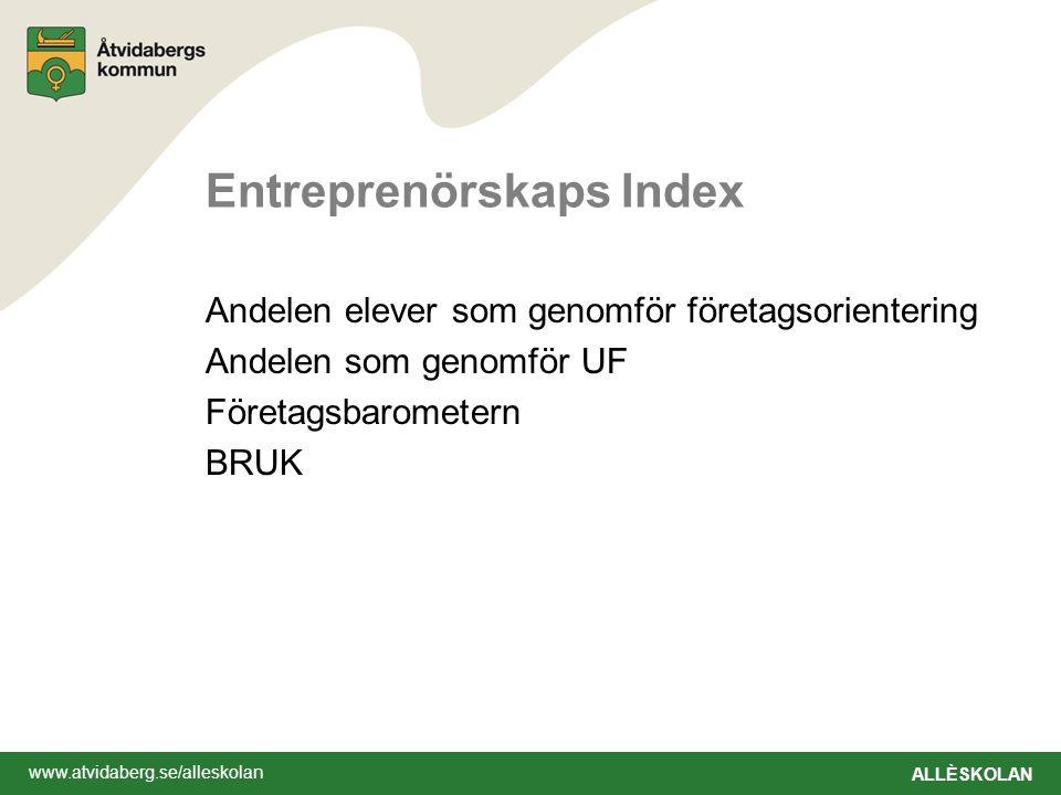 www.atvidaberg.se/alleskolan ALLÈSKOLAN Entreprenörskaps Index Andelen elever som genomför företagsorientering Andelen som genomför UF Företagsbarometern BRUK