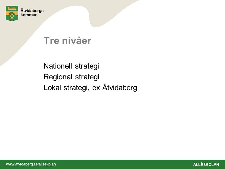 www.atvidaberg.se/alleskolan ALLÈSKOLAN Tre nivåer Nationell strategi Regional strategi Lokal strategi, ex Åtvidaberg
