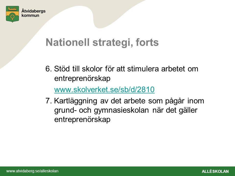 www.atvidaberg.se/alleskolan ALLÈSKOLAN Nationell strategi, forts 6. Stöd till skolor för att stimulera arbetet om entreprenörskap www.skolverket.se/s