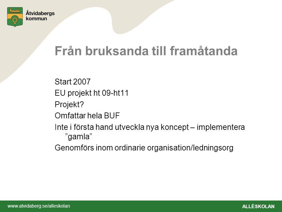 www.atvidaberg.se/alleskolan ALLÈSKOLAN Från bruksanda till framåtanda Start 2007 EU projekt ht 09-ht11 Projekt? Omfattar hela BUF Inte i första hand