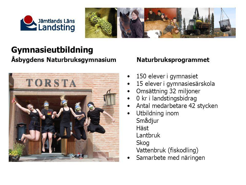 Gymnasieutbildning Åsbygdens Naturbruksgymnasium Naturbruksprogrammet 150 elever i gymnasiet 15 elever i gymnasiesärskola Omsättning 32 miljoner 0 kr