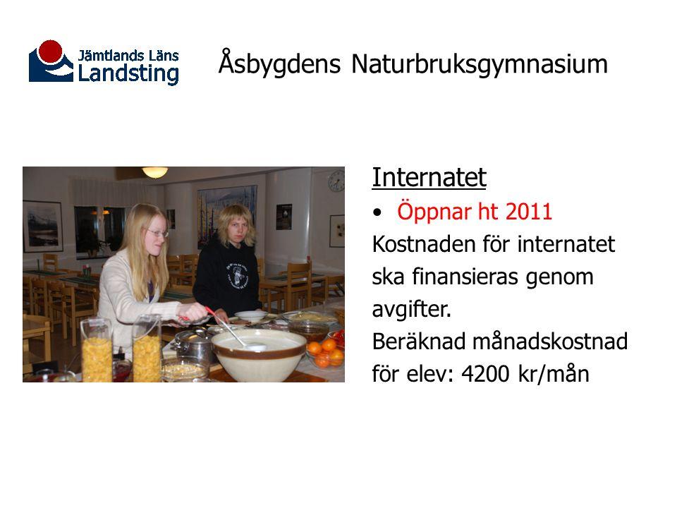 Åsbygdens Naturbruksgymnasium Internatet Öppnar ht 2011 Kostnaden för internatet ska finansieras genom avgifter. Beräknad månadskostnad för elev: 4200