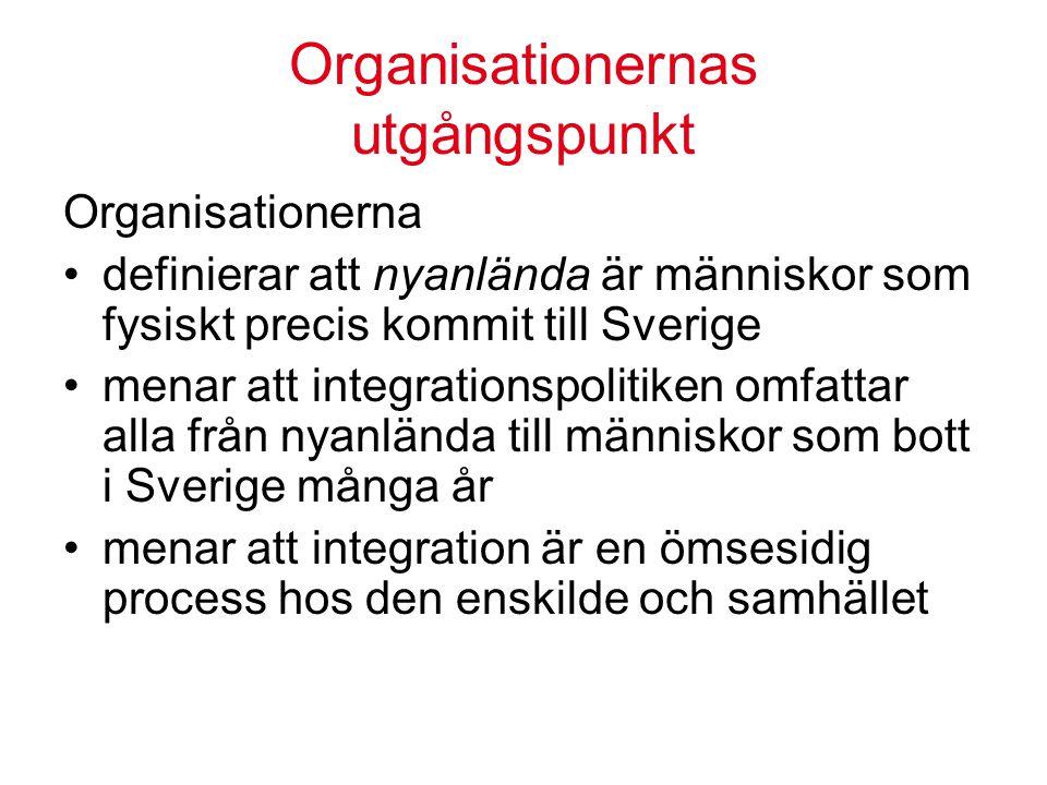 Organisationernas utgångspunkt Organisationerna definierar att nyanlända är människor som fysiskt precis kommit till Sverige menar att integrationspolitiken omfattar alla från nyanlända till människor som bott i Sverige många år menar att integration är en ömsesidig process hos den enskilde och samhället