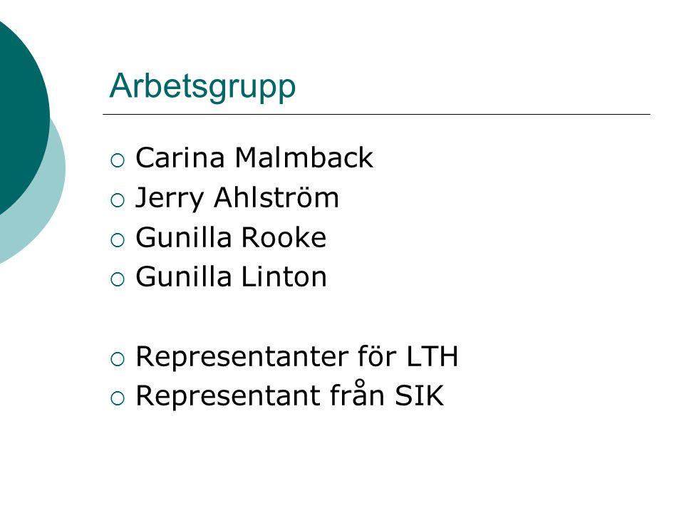 Arbetsgrupp  Carina Malmback  Jerry Ahlström  Gunilla Rooke  Gunilla Linton  Representanter för LTH  Representant från SIK