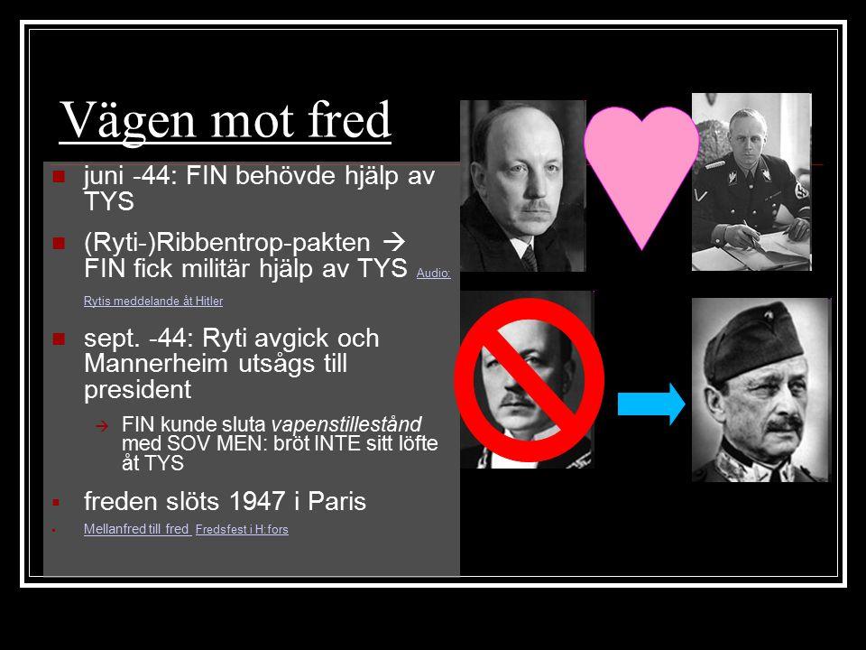 Vägen mot fred juni -44: FIN behövde hjälp av TYS (Ryti-)Ribbentrop-pakten  FIN fick militär hjälp av TYS Audio: Rytis meddelande åt Hitler Audio: Ry