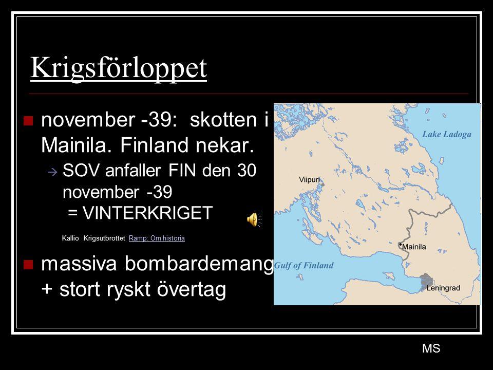 Krigsförloppet november -39: skotten i Mainila. Finland nekar.  SOV anfaller FIN den 30 november -39 = VINTERKRIGET Kallio Krigsutbrottet Ramp: Om hi