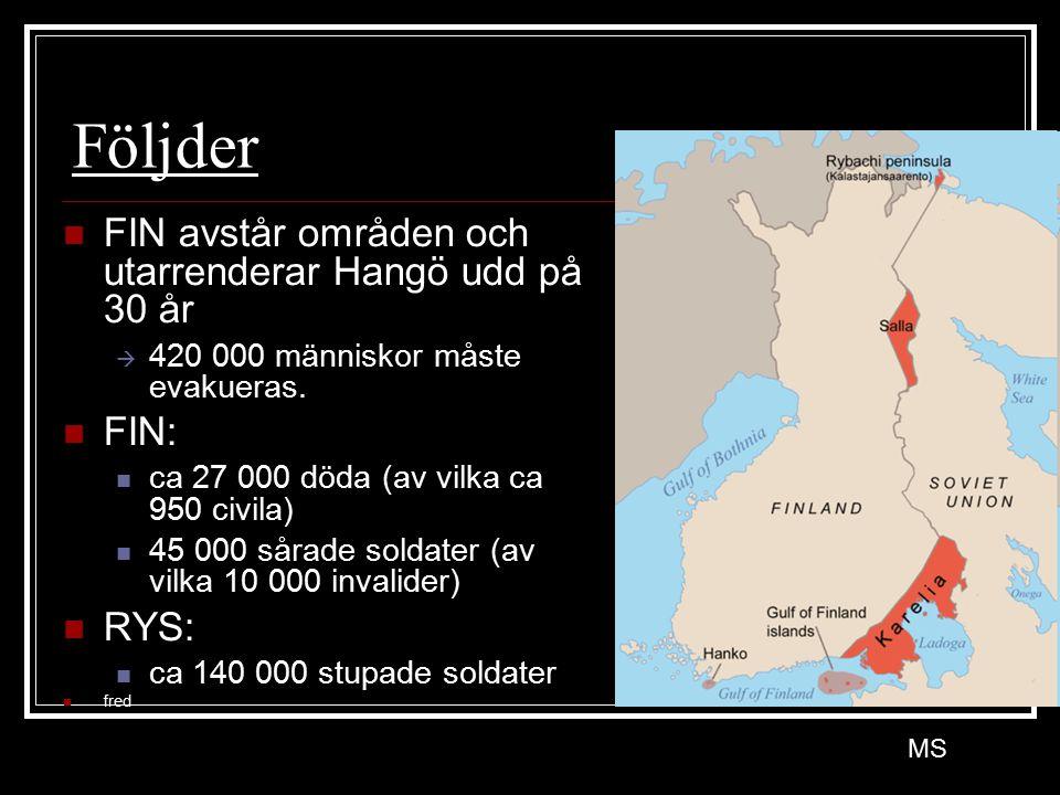 Följder FIN avstår områden och utarrenderar Hangö udd på 30 år  420 000 människor måste evakueras. FIN: ca 27 000 döda (av vilka ca 950 civila) 45 00