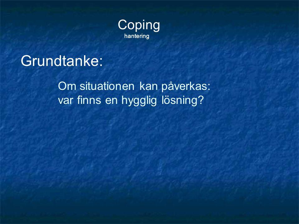 Coping hantering Om situationen kan påverkas: var finns en hygglig lösning? Grundtanke: