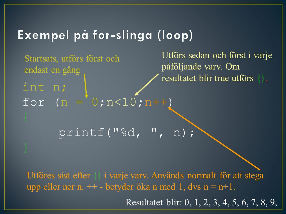 Startsats, utförs först och endast en gång int n; for (n = 0;n<10;n++) { printf( %d, , n); } Utförs sedan och först i varje påföljande varv.