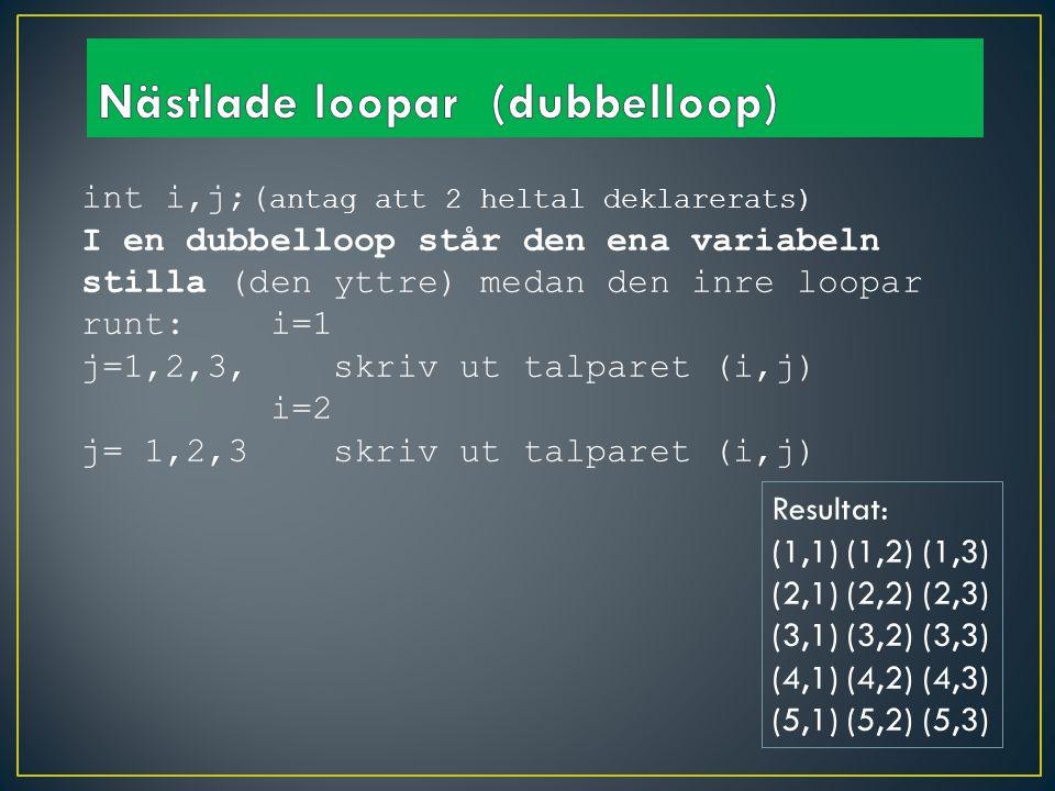int i,j;( antag att 2 heltal deklarerats) I en dubbelloop står den ena variabeln stilla (den yttre) medan den inre loopar runt: i=1 j=1,2,3, skriv ut talparet (i,j) i=2 j= 1,2,3 skriv ut talparet (i,j) Resultat: (1,1) (1,2) (1,3) (2,1) (2,2) (2,3) (3,1) (3,2) (3,3) (4,1) (4,2) (4,3) (5,1) (5,2) (5,3)
