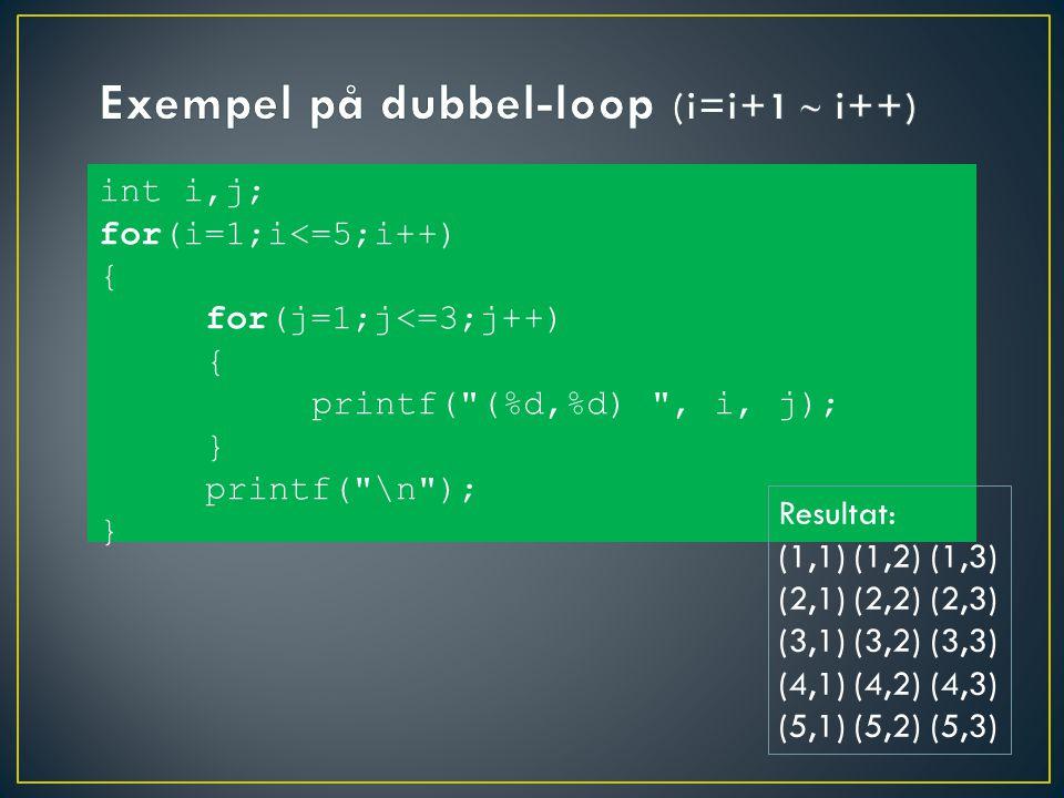 int i,j; for(i=1;i<=5;i++) { for(j=1;j<=3;j++) { printf( (%d,%d) , i, j); } printf( \n ); } Resultat: (1,1) (1,2) (1,3) (2,1) (2,2) (2,3) (3,1) (3,2) (3,3) (4,1) (4,2) (4,3) (5,1) (5,2) (5,3)