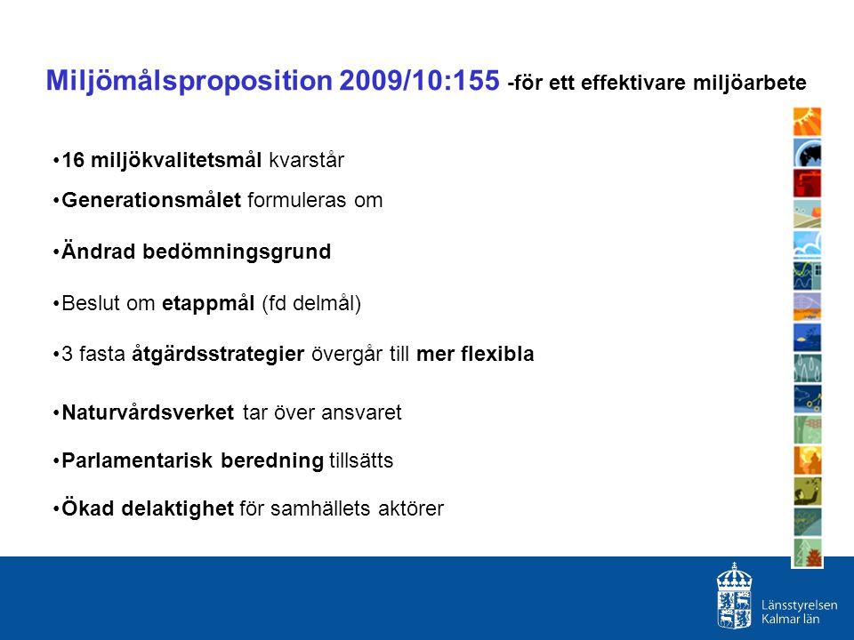 Miljömålsproposition 2009/10:155 -för ett effektivare miljöarbete 16 miljökvalitetsmål kvarstår Generationsmålet formuleras om Ändrad bedömningsgrund