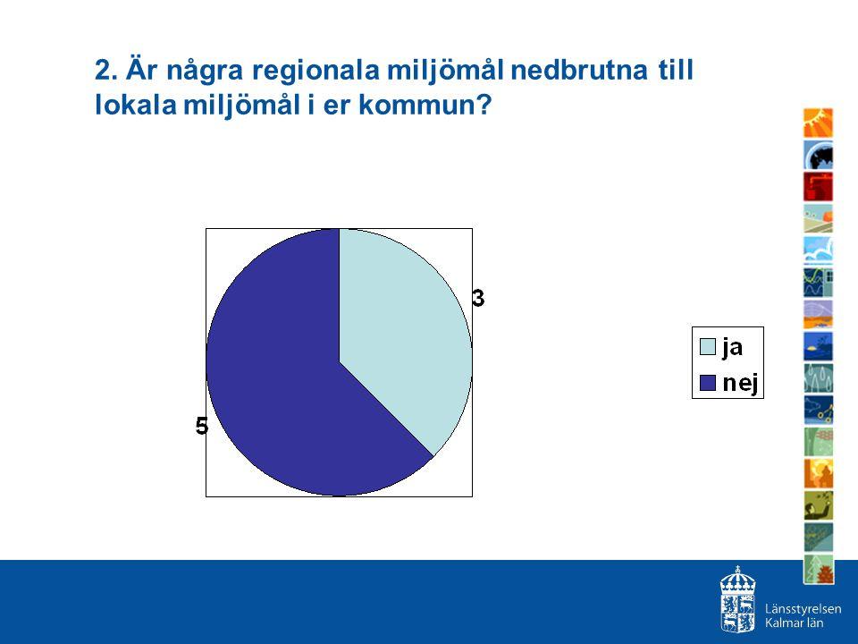 2. Är några regionala miljömål nedbrutna till lokala miljömål i er kommun?