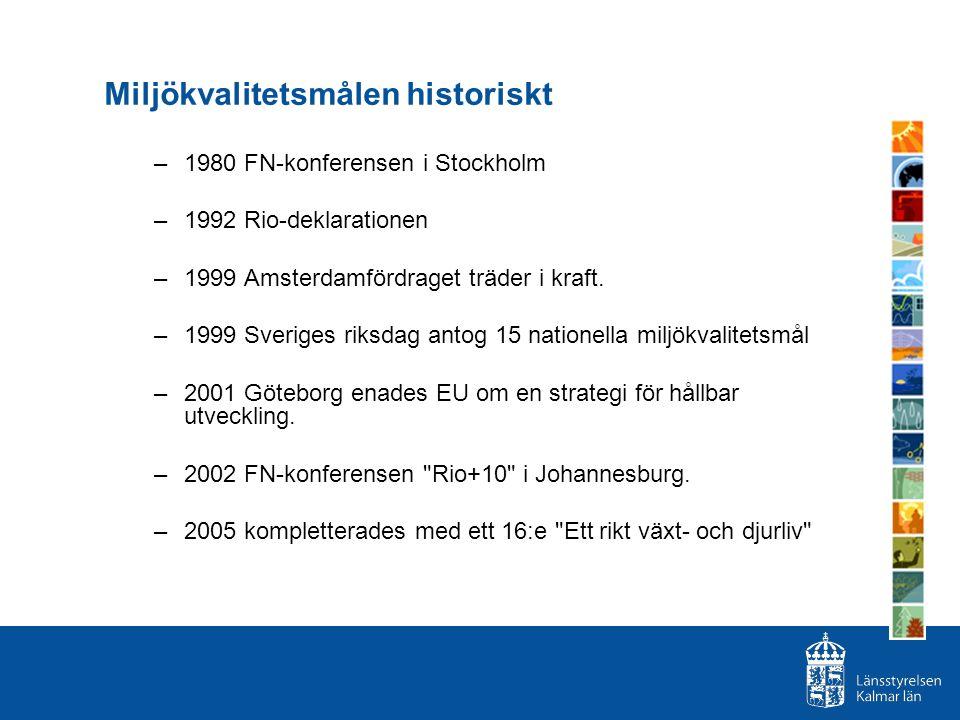 Miljökvalitetsmålen historiskt –1980 FN-konferensen i Stockholm –1992 Rio-deklarationen –1999 Amsterdamfördraget träder i kraft. –1999 Sveriges riksda