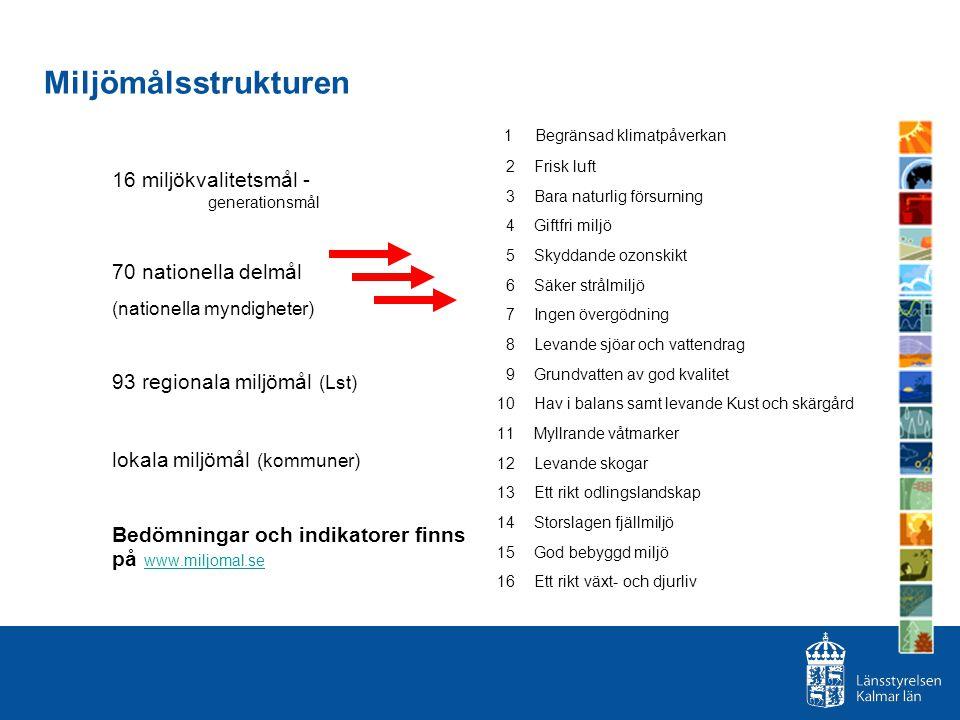 Miljömålsstrukturen 16 miljökvalitetsmål - generationsmål 70 nationella delmål (nationella myndigheter) 93 regionala miljömål (Lst) lokala miljömål (k