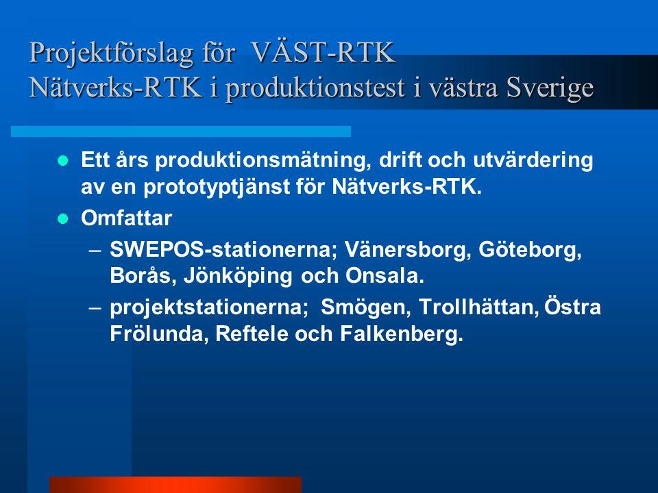 Projektförslag för VÄST-RTK Nätverks-RTK i produktionstest i västra Sverige Ett års produktionsmätning, drift och utvärdering av en prototyptjänst för Nätverks-RTK.