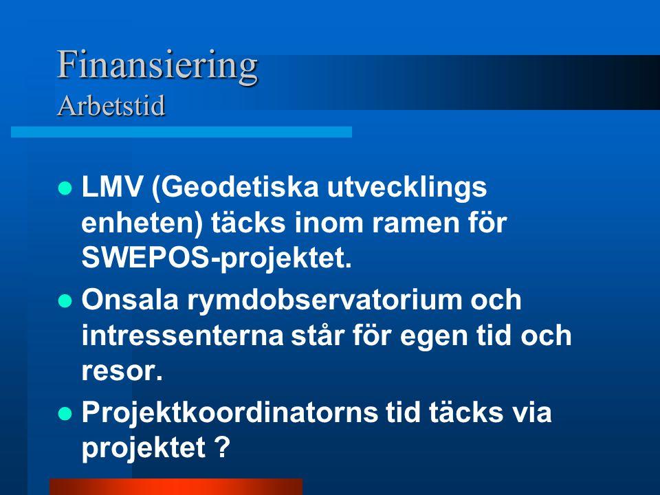 Finansiering Arbetstid LMV (Geodetiska utvecklings enheten) täcks inom ramen för SWEPOS-projektet.
