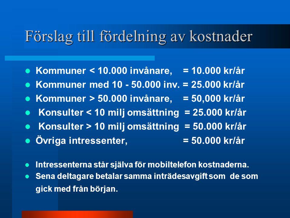 Förslag till fördelning av kostnader Kommuner < 10.000 invånare, = 10.000 kr/år Kommuner med 10 - 50.000 inv.