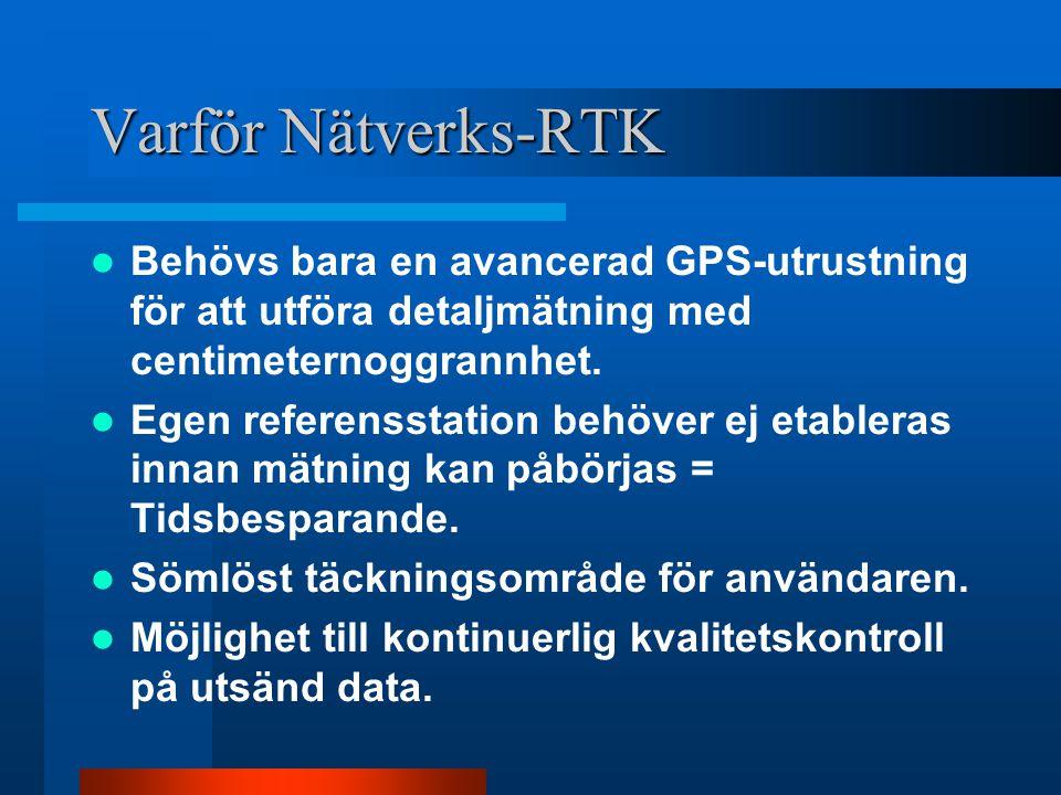 Produktionsmätningsfas, studier av kostnad/nyttoeffekt för Nätverks-RTK 1 mars 2002 - 28 febr 2003 Tjänsten är tillgänglig för produktionsmätning Varje grupp utför testmätningar 1-2 dagar/månad –jämförelse mot egen referensstation eller, –testmätningar på kända s.k.