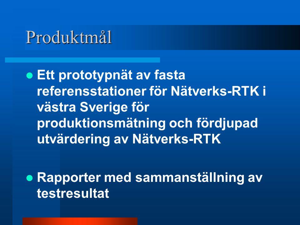 Produktmål Ett prototypnät av fasta referensstationer för Nätverks-RTK i västra Sverige för produktionsmätning och fördjupad utvärdering av Nätverks-RTK Rapporter med sammanställning av testresultat