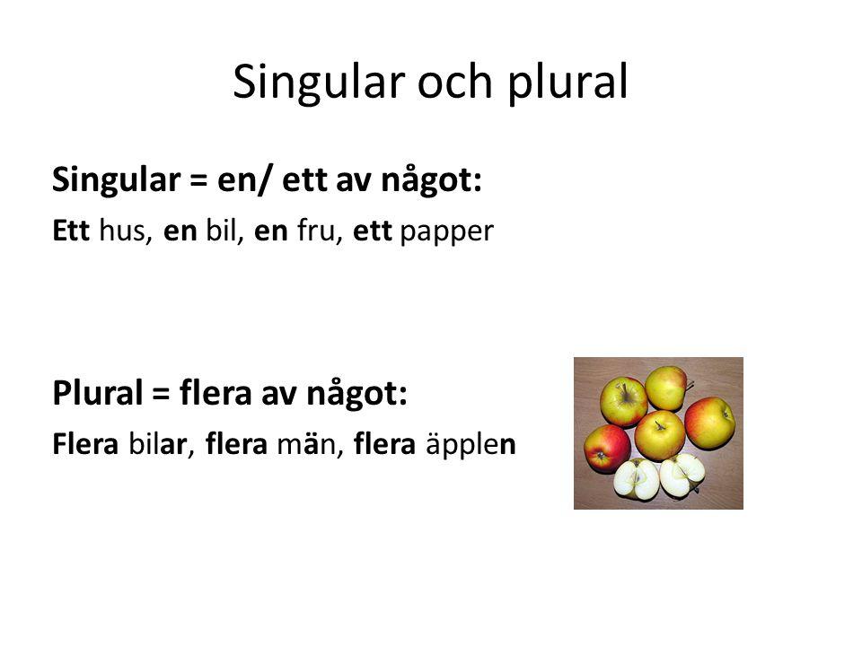 Singular och plural Singular = en/ ett av något: Ett hus, en bil, en fru, ett papper Plural = flera av något: Flera bilar, flera män, flera äpplen
