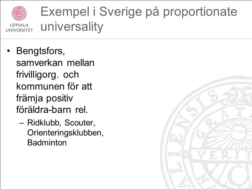 Exempel i Sverige på proportionate universality Bengtsfors, samverkan mellan frivilligorg. och kommunen för att främja positiv föräldra-barn rel. –Rid